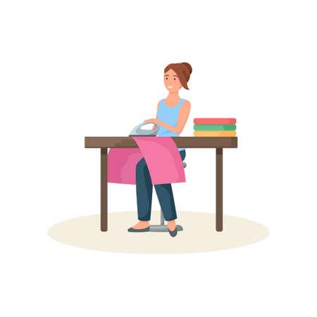 Näherin sitzt hinter Tisch und bügelt rotes Tuch Vektorgrafik