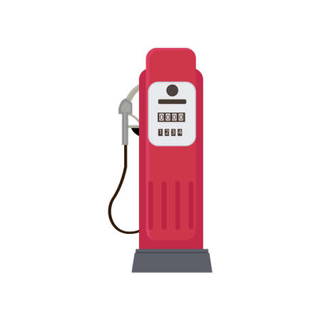 Modern compact red petrol dispenser isolated on white background