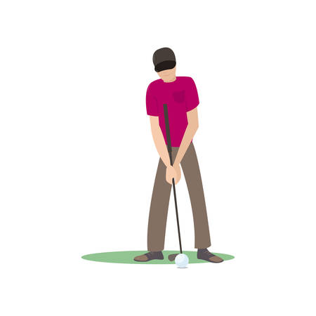Golf player kicking ball isolate on white background