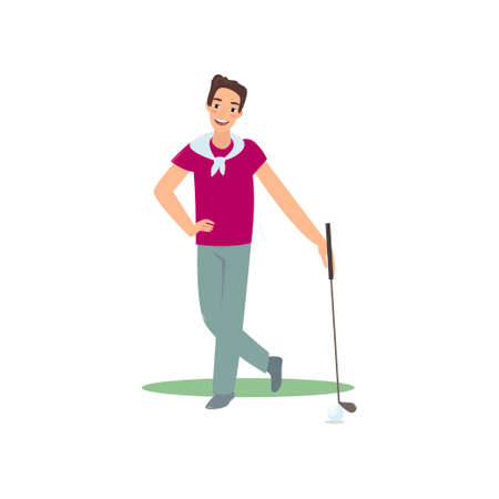 Smiling golf player standing with club satisfied good game. Man playing golf on grass. Male character enjoying results of gulf competition outside. Summer sport. Icon isolate on white background