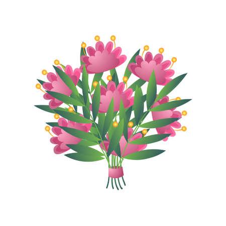 Ramo de flores exóticas bloomy amarillo rosa fresco con cinta aislada sobre fondo blanco. Dibujos animados, tarjeta de boda de composición floral, cumpleaños de San Valentín. Invitación, felicitación, concepto de decoración.