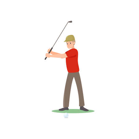 Golf player swinging club over head looking forward. Man in red t-shirt, hat playing golf on grass. Concentrated character enjoying gulf game outside. Summer sport. Icon isolate on white background