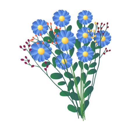 Ramo fresco de flores de campo azul aislado sobre fondo blanco. Dibujos animados, composición floral de tarjetas para bodas, cumpleaños de San Valentín. Invitación, felicitación, concepto de decoración. Ilustración de vector