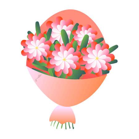 Elegante ramo de flores frescas en papel mate aislado sobre fondo blanco. Dibujos animados, composición floral de tarjetas para bodas, cumpleaños de San Valentín. Invitación, felicitación, concepto de decoración. Ilustración de vector