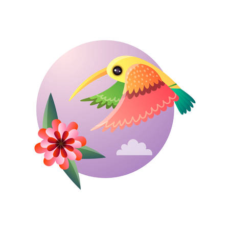 Flying hummingbirds with color plumage and flower. Tropical tiny bird character collecting nectar from exotic bloomy plant. Exotic jungle nature round sky background. Abstract style