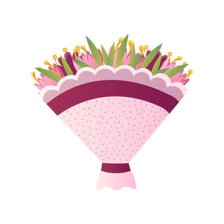 Ramo fresco de exóticas pequeñas flores amarillas en elegante papel punteado aislado en blanco. Dibujos animados, composición floral de tarjetas para bodas, cumpleaños de San Valentín. Invitación, felicitación, concepto de decoración.