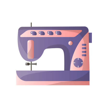 Modern sewing machine with different options isolated on white background. Equipment of dressmaker. Product print template in flat design style