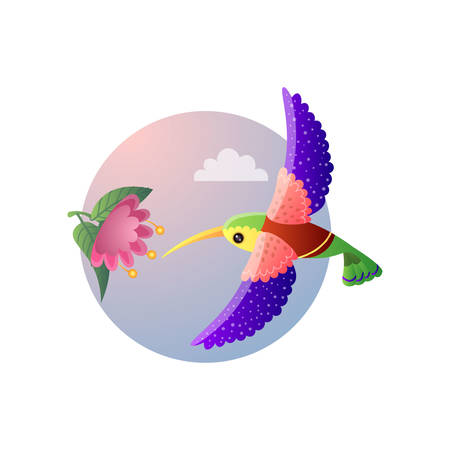 Colorful small bird hummingbird with bright plumage flying to flower. Tropical tiny bird cartoon character hovering around exotic bloomy plant under sky. Round picture isolated on white background