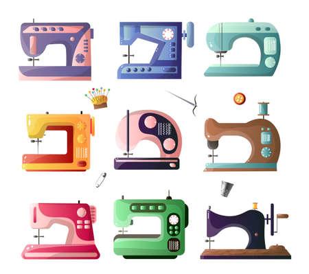 Macchine da cucire in stile moderno e retrò con diverse opzioni impostate isolate su sfondo bianco. Attrezzature di sarta. Modello di prodotto in stile design piatto Vettoriali