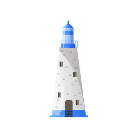 White conic lighthouse with shadow, blue roof and wide foundation in flat design