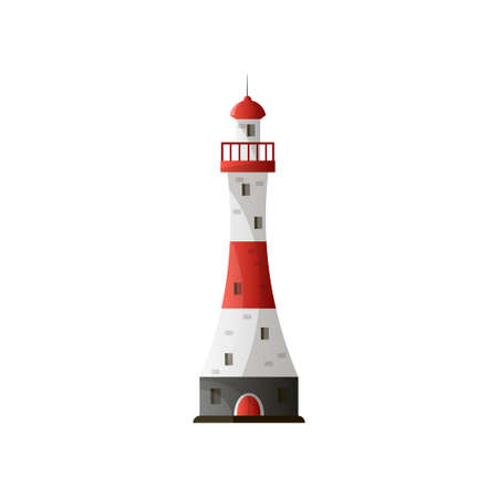 White red lighthouse with shadow and peak on roof in flat design