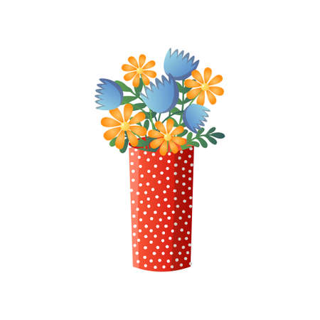 Yellow and blue flowers different species in red dotted vase isolated on white. Beautiful fresh plants mixed bouquet in creative vase. Floral composition for gift, congratulation. Print, decor, card