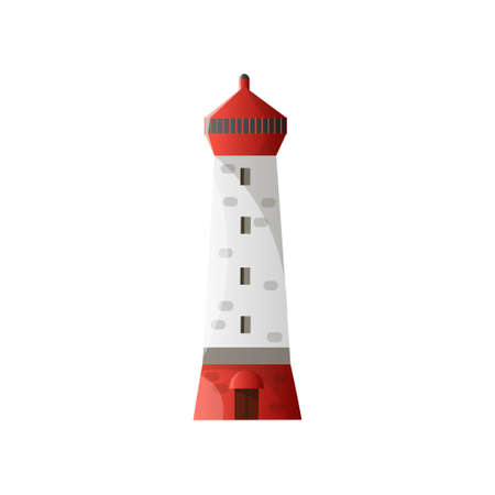 White lighthouse with shadow, red roof and foundation in flat design isolated on white background Illustration