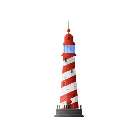 White conic lighthouse with shadow, red diagonal stripes and grey foundation in flat design