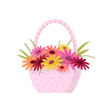 Beautiful colorful flowers composition bouquet in light pink wicker basket over white. Nice creative floral composition. Card template for birthday mothers day anniversary gift, greeting, invitation