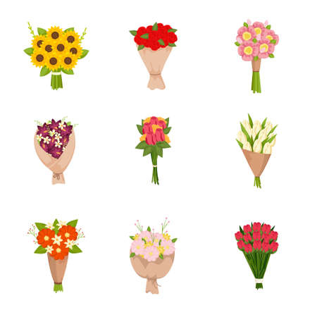 Festive gift bouquets of fresh flowers icons set on empty background. Cartoon colorful floral arrangement, flowering bunch. Invitation poster, card. Botanical garden wedding or valentine concept
