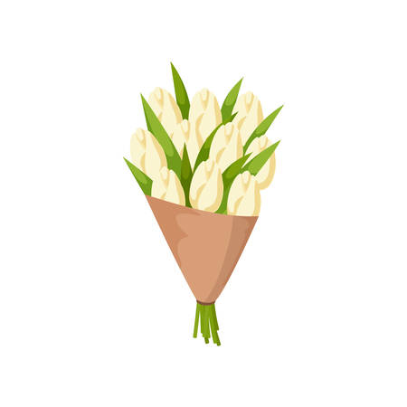 Festive gift bouquet of white tulips in mate paper on empty background. Cartoon colorful floral arrangement, flowering bunch. Invitation poster, card. Botanical garden wedding or valentine concept