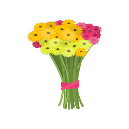 Big wonderful bouquet of pink and yellow gerberas tied with ribbon empty background. Beautiful floral composition. Cartoon buds, leaves, stems. Greeting card gift icon template spring summer sticker