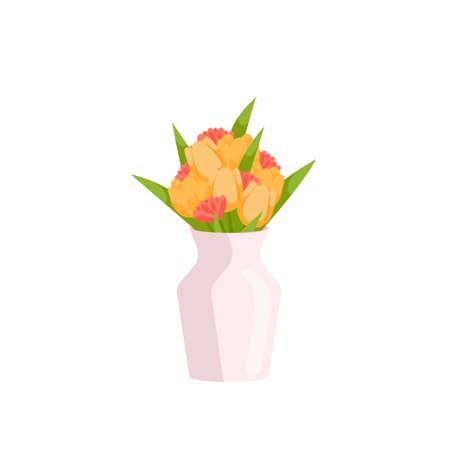 Beautiful spring flowers composition in vase on empty background. Bouquet with large yellow and smaller pink tulip buds for gift, present on birthday, anniversary, mothers day. Card cartoon plant