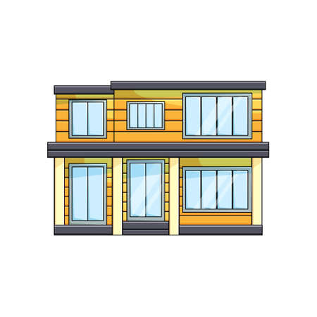 Modern wooden eco house exterior front view with rooftop on empty background Illustration
