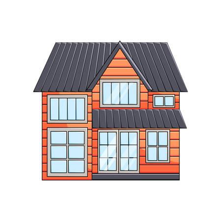 Vue de face extérieure de maison écologique en bois à deux étages avec grenier sur fond vide Vecteurs