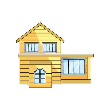 Front view of wooden eco house exterior rural architecture with skillion on empty background