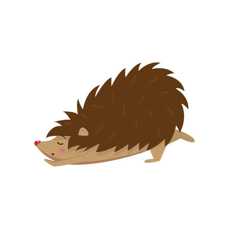 Cute hedgehog amusingly stretching isolated on white background. Forest animal character after sleeping or relaxing. Wildlife nature concept. Greeting card in cartoon style Vektorové ilustrace