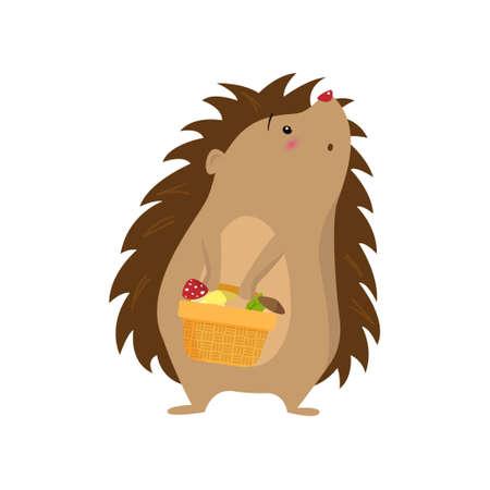 Amazed surprised hedgehog with harvest in basket isolated on white background Illustration