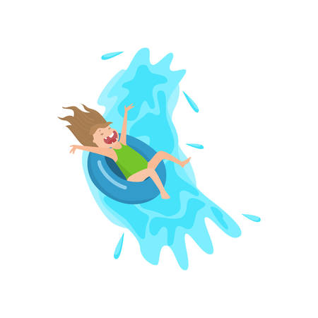 Screaming girl flowing down on inflatable rubber swimming ring. Child having fun on water slide attraction in aqua park. Family children recreation and leisure, active summer time concept