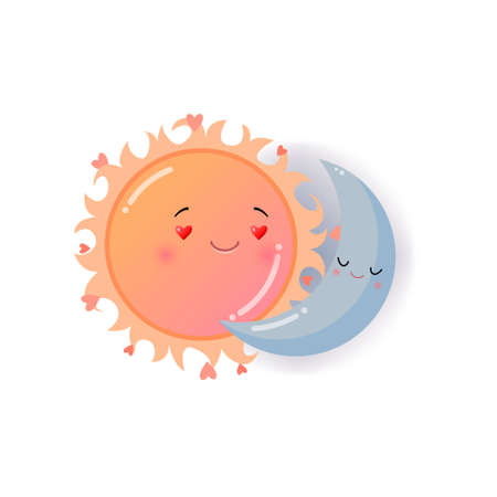Orange sun and blue moon in love emoji sticker isolated on white background. Smiley funny happy faces with good expression, fine mood, icon. Emoticons of summer design Ilustração
