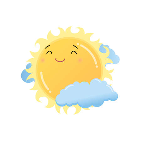 Cute satisfied yellow sun in clouds emoji sticker isolated on white background. Smiley funny happy face with good expression, fine mood icon. Emoticons of summer design