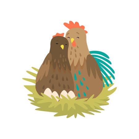 Coq et poule assis dans un nid avec des œufs isolés sur fond blanc. Personnages de dessins animés s'embrassant, s'aimant. Collection d'oiseaux de ferme de Pâques dans un style plat. Concept de famille de la faune heureuse