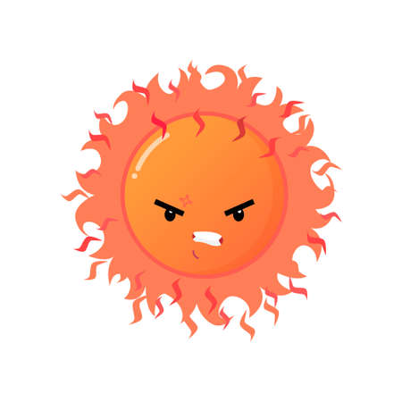 Angry furious red sun emoji sticker isolated on white background. Mad face with bad expression, terrible vicious mood. Emoticons of summer design
