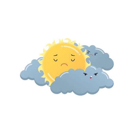 Sad yellow sun between angry grey clouds emoji sticker isolated on white background. Dejected countenance, sorrowful face. Emoticons of summer design