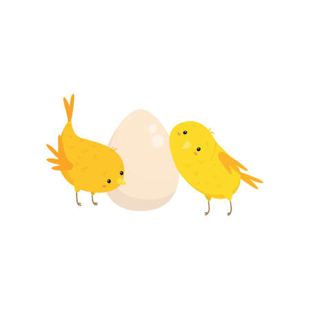 Two cute funny small chickens and egg isolated on white background. Cartoon characters looking with interest. Easter farm birds collection in flat style. Happy wildlife family concept
