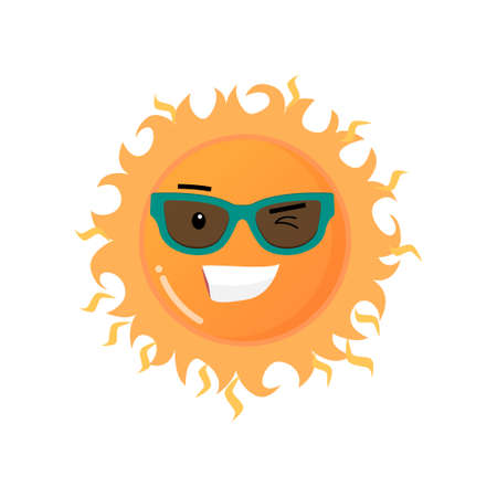 Funny toothy smiling sun in sunglasses emoji sticker isolated on white background Иллюстрация