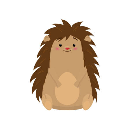 Funny cute hedgehog sitting and looking at viewer isolated on white background