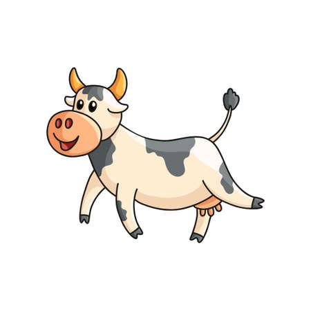 Funny smiling spotted cow walking isolated on white. Farm animal character in good mood. Emoji sticker, design for products