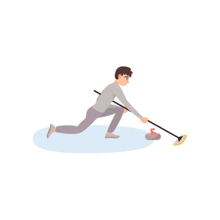 An athlete in gray clothes on the ice is rubbing the floor with a brush, thus pushing a stone. Ilustração