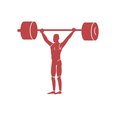 Weightlifter raises heavy barbell. Very hard sport for professional athletes.