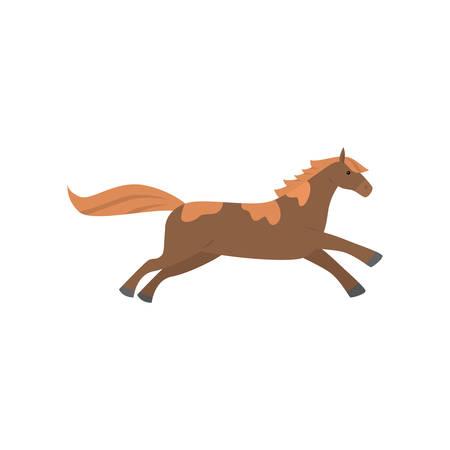 Nettes schönes Cartoonpferd. Anmutiges Pferd einer ungewöhnlichen Färbung.