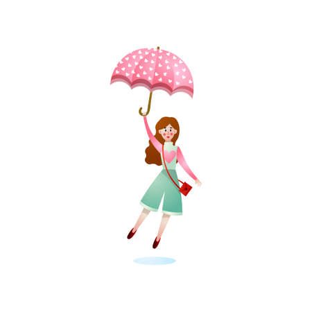 Cute smiling brunette girl fly up with pink umbrella in rainy storm day. Cartoon style. Vector illustration on white background.