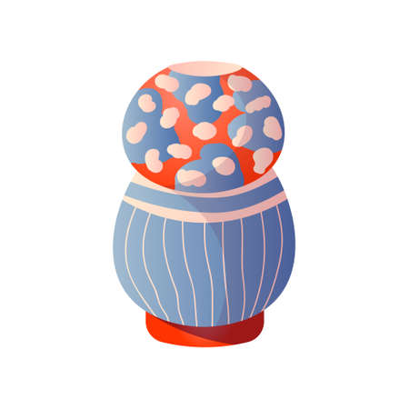 Ceramic modern style room vase in colorful different design. Cartoon style. Vector illustration on white background