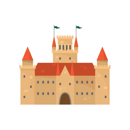 Cute brown medieval castle with red ceramic roof