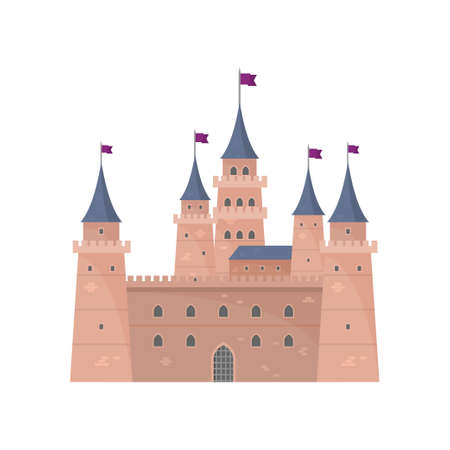 Knight medieval brown castle for defending king country Illustration