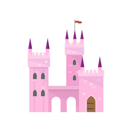 Beautiful pink castle with tower building for king princess Illustration