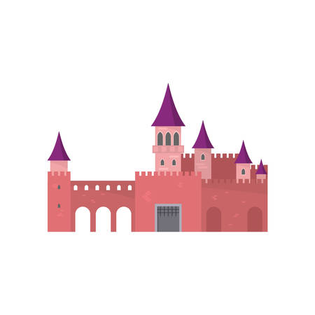 Legendary red brick castle with beautiful purple roof