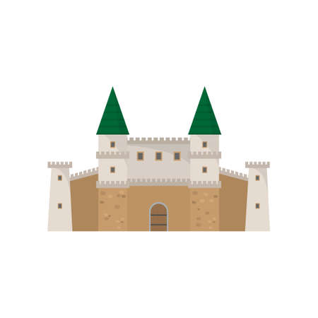 Medieval old stone architecture castle with green roof