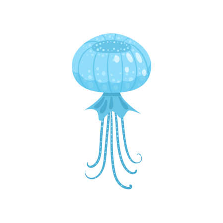 Blue round form jellyfish, ocean or sea creature Stock Vector - 121021192