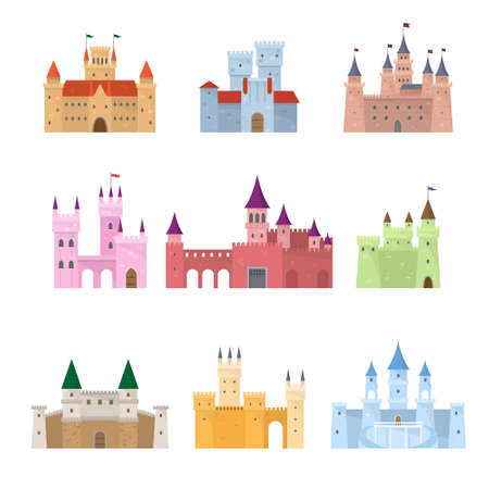 Set of colorful medieval fairy tale princess castle